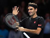Tennis - 2019 Nitto ATP Finals at The O2 - Day Five<br /> <br /> Singles Group Bjorn Borg: Novak Djokovic (Serbia) vs. Roger Federer (Switzland)<br /> <br /> Roger Federer celebrates his 2 set victory over Novak Djokovic 6-4, 6-3<br /> <br /> COLORSPORT/ASHLEY WESTERN