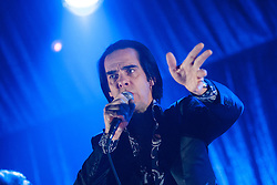 Singer Nick Cave, of Nick Cave and the Bad Seeds, on stage tonight at The Barrowlands, Glasgow, Scotland.<br /> ©Michael Schofield.