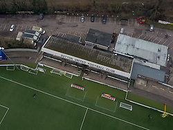 An aerial view of Gander Green Lane, home of Sutton United Football Club in South London.