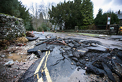 © Licensed to London News Pictures. 18/03/2016. Cumbria UK. File picture shows a road in Patterdale damaged by storms last December. The Department for Transport has pledged an additional £82.6m today to fund essential repairs to infrastructure in Cumbria damaged by Storms Desmond & Eva last December. Photo credit: Andrew McCaren/LNP