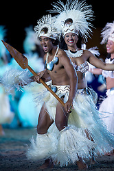 © London News Pictures. 10/05/2012. Windsor, UK. Dancers from the Cook ISlands perform on The opening night of the Diamond Jubilee Pageant in the private grounds of Windsor Castle, on May 10, 2012. 1200 performers and 600 horses from countries all around the world take part in the Pageant which runs for four nights celebrating 60 years on the throne for Queen Elizabeth II.  Photo credit: Ben Cawthra/LNP