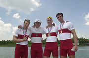 FISA World Cup Rowing Munich Germany.<br /> Photo Peter Spurrier 29/05/2004. Finals day.<br /> CAN M4-<br /> BowCameron Baerg, Thomas Herschmiller, Jake Wetzel and Barny Williams