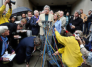Dr. William Petit Jr. speaks as he's surrounded by media and family outside  Superior Court in New Haven, Conn. Steven Hayes was convicted of capital felony, murder, sexual assault and other counts by a jury that heard eight days of gruesome testimony about the July 2007 attacks on Jennifer Hawke-Petit and her daughters, Hayley and Michaela. (AP Photo/Jessica Hill)