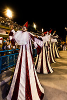 "Carnaval parade of Academicos do Salgueiro samba school in the Sambadrome, Rio de Janeiro, Brazil.<br /> <br /> The theme of their parade is ""The Black King of the Riding Arena"". It is a tribute to Benjamin de Oliveira, the first black clown in Brazil."