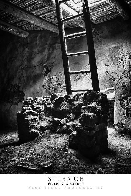 20x30 poster print of a ceremonial kiva in black and white.