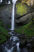 Latourell Falls plunged 289 feet (76 metres) over a rocky basalt cliff in the Columbia Gorge of Oregon.
