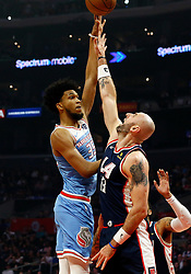 January 27, 2019 - Los Angeles, CA, U.S. - LOS ANGELES, CA - JANUARY 27: Sacramento Kings forward Marvin Bagley III (35) goes up for a shot over Los Angeles Clippers Center Marcin Gortat (13) during the game on January 27, 2019, at Staples Center in Los Angeles, CA. (Photo by Adam  Davis/Icon Sportswire) (Credit Image: © Adam Davis/Icon SMI via ZUMA Press)