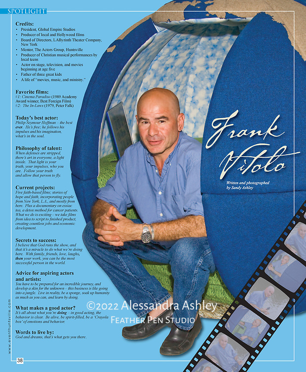Spotlight feature, Huntsville EVENT Magazine, Nov/Dec 2009, featuring film producer and actor FX Vitolo.