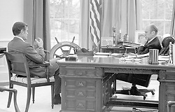 Gerald Ford, the 38th President of the United States, dies at 93, his wife Betty announced in a short statement on December 27, 2006. File Picture from the President's Library. Original Caption : President Ford meets with CIA Director-designate George Bush in the Oval Office. December 17, 1975. Photo Gerald R Ford Library via ABACAPRESS.COM
