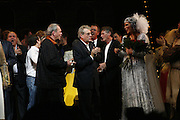 Eric Idle, Terry Gilliam and Terry Jones and cast on stage. Opening of Spamalot at the Night Palace Theatre and afterwards at Freemasons Hall Gt. Queen St.  London. 17 October 2006. -DO NOT ARCHIVE-© Copyright Photograph by Dafydd Jones 66 Stockwell Park Rd. London SW9 0DA Tel 020 7733 0108 www.dafjones.com