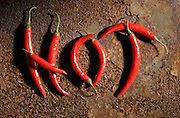 Red Chilly peppers spelling hot