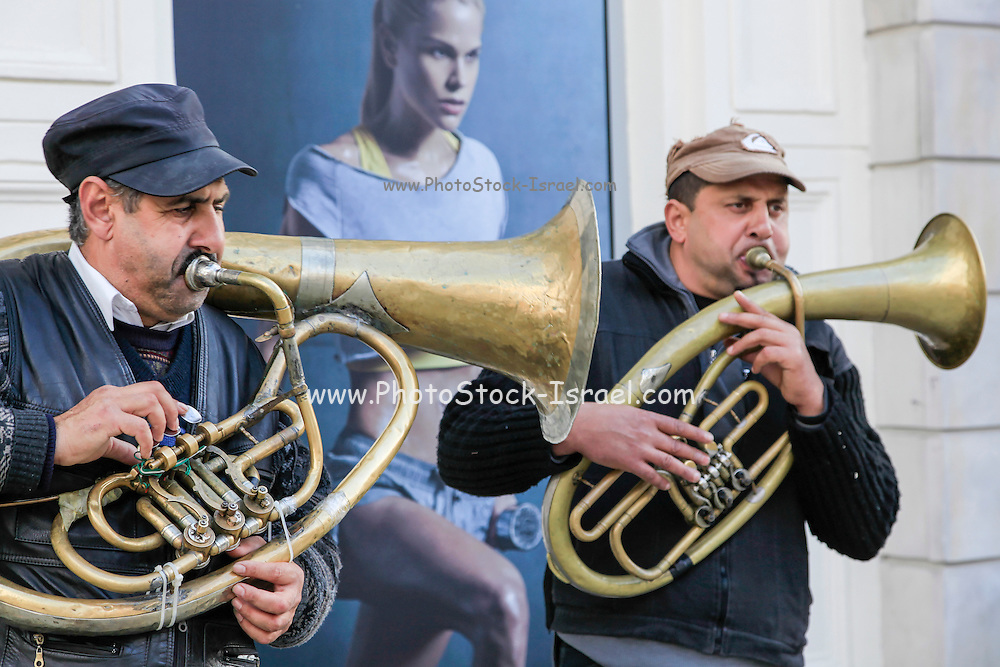 Warsaw Poland brass band play in the street