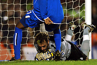 Photo: Javier Garcia/Back Page Images<br />Arsenal v Birmingham FA Barclays Premiership Highbury 04/12/04<br />Manuel Almunia almost spills a routine shot over the line from Clinton Morrisson but retrieves it just in time