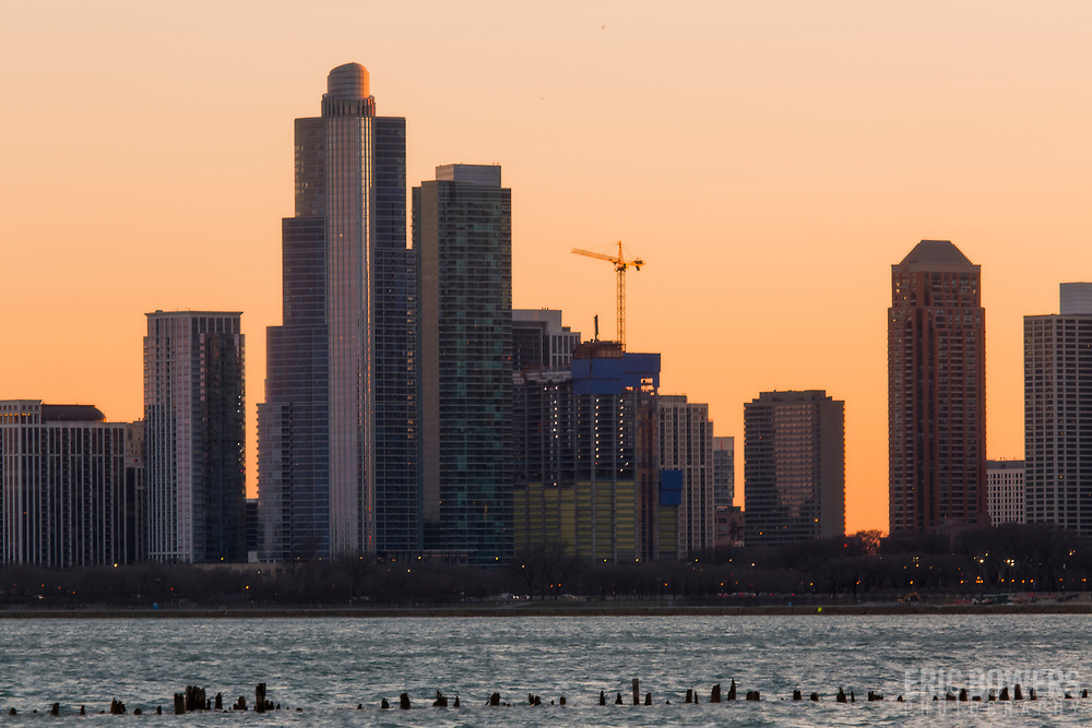 One Grant Park under construction in 2018 to the right of One Museum Park, Chicago highrises.