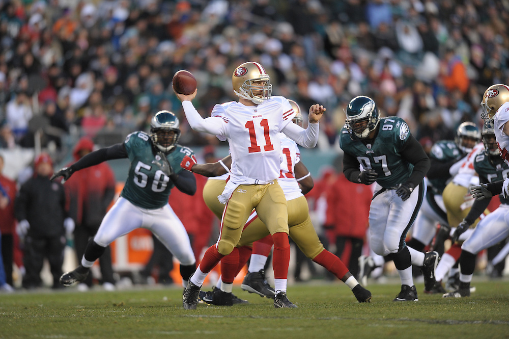 PHILADELPHIA - DECEMBER 20: Quarterback Alex Smith #11 of the San Francisco 49ers passes during the game against the Philadelphia Eagles on December 20, 2009 at Lincoln Financial Field in Philadelphia, Pennsylvania. The Eagles won 27-13. (Photo by Drew Hallowell/Getty Images)  *** Local Caption *** Alex Smith