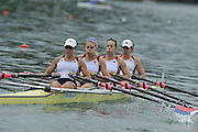 Lucerne SWITZERLAND,  USA W4X. Bow Stesha CARLE, Megan KALMOE, Esther LOFGREN and Natalie DELL, at the   2011 FISA World Cup on the Lake Rotsee.  15:12:25  Saturday   09/07/2011   [Mandatory Credit Peter Spurrier/ Intersport Images]