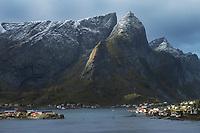 Dusting of autumn snow on mountain peaks above Reine, Moskenesøy, Lofoten Islands, Norway