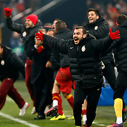 Galatasaray's players celebrates victory during their UEFA Champions League Round of 16 Second Leg match FC Schalke 04 between Galatasaray at the Gelsenkirchen stadium, Germany, on March 12, 2013. Galatasaray won 3-2. Photo by TURKPIX