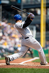 May 28, 2018 - Pittsburgh, PA, U.S. - PITTSBURGH, PA - MAY 28:   Chicago Cubs first baseman Anthony Rizzo (44) hits a home run in the second inning during an MLB game between the Pittsburgh Pirates and Chicago Cubs on May 28, 2018 at PNC Park in Pittsburgh, PA. (Photo by Shelley Lipton/Icon Sportswire) (Credit Image: © Shelley Lipton/Icon SMI via ZUMA Press)