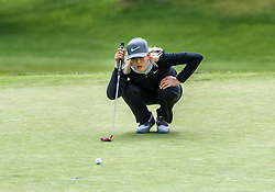 April 26, 2018 - San Francisco, CA, U.S. - SAN FRANCISCO, CA - APRIL 26: Michelle Wie of the United States lines up a putt on the 5th hole during the first round of the 2018 LPGA MEDIHEAL Championship on April 26, 2018 at the Lake Merced Golf Club in San Francisco, CA. (Photo by Douglas Stringer/Icon Sportswire) (Credit Image: © Douglas Stringer/Icon SMI via ZUMA Press)
