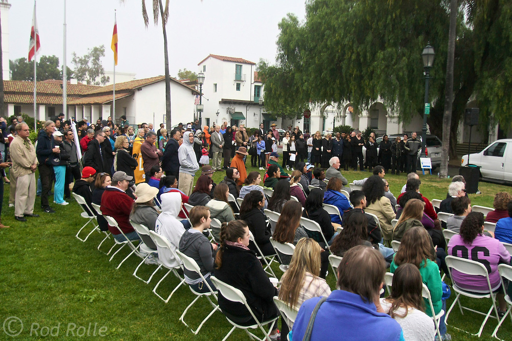 """19 January 2015-Santa Barbara, CA: Santa Barbara Honors Dr. Martin Luther King Jr. with a Day of Celebration.  The Santa Barbara MLK, Jr. Committee chose """"Drum Majors for Justice"""" as it's theme for the day which included a Pre-March Program in De la Guerra Plaza followed by a march up State Street to the Arlington Theater for speakers, music and poetry.  The program concluded with a Community Lunch at the First United Methodist Church in Santa Barbara.  Photo by Rod Rolle"""