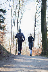 Rear view of man and woman jogging on fitness trail in forest
