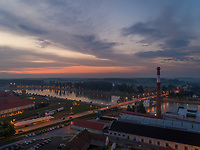Aerial view of rava river and Osijek at sunset, Croatia.