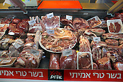 Interior of a supermarket, fresh meat counter. photographed in Israel
