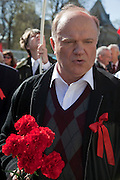 Moscow, Russia, 01/05/2009..Annual Mayday celebrations in Russia. Communist Party leader Gennadi Zyuganov leads several thousand demonstrators through Moscow, with their protests this year focusing on the world economic crisis that has hit the previously booming Russian economy hard.