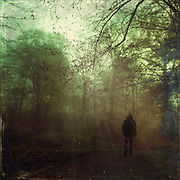 Man walking in a forest towards the light -  photograph with textures