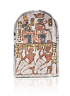 """Ancient Egyptian Stele of Amenemope dedicated to Amenhotep I and Ahmose-Nefertari, limestone, New Kingdom, 19th Dynasty, (1279-1213 BC), Deir el-Medina, Drovetti cat 1454. Egyptian Museum, Turin. white background<br /> <br /> The stele is dedicated to Amenhotep I and Ahmose-Nefertari by the 'Servant in the Place of Truth' Amenemope and Amennakht. The king and the queen are shown sitting on their thrones. Above the sovereign there is a solar disc flanked by two sacred cobras and their cartouches are shown to the right of each of them. In the bottom register Amenemope is shown with his son  Amennakht, who also was a """"Servant in the Place of Truth"""", in the pose of adoration. .<br /> <br /> If you prefer to buy from our ALAMY PHOTO LIBRARY  Collection visit : https://www.alamy.com/portfolio/paul-williams-funkystock/ancient-egyptian-art-artefacts.html  . Type -   Turin   - into the LOWER SEARCH WITHIN GALLERY box. Refine search by adding background colour, subject etc<br /> <br /> Visit our ANCIENT WORLD PHOTO COLLECTIONS for more photos to download or buy as wall art prints https://funkystock.photoshelter.com/gallery-collection/Ancient-World-Art-Antiquities-Historic-Sites-Pictures-Images-of/C00006u26yqSkDOM"""