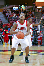 15 January 2005<br /> <br /> Lorenzo Gordon goes to the line to add to his total.  He completes the game with 21 points as the Illinois State University Redbirds keep the Drake Bulldogs on a leash as they pull ahead in the 2nd half for a74 - 61 Victory.  Redbird Arena, Illinois State University, Normal IL