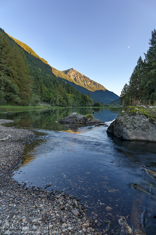 View of Mount Grant and Silverhope Creek at Silver Lake Provincial Park near Hope, British Columbia, Canada.
