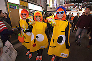 October 29, 2016, Tokyo, Japan: In the Shibuya district, the heart of Japanese youth culture, Halloween celebrations have exploded in the past few years. Up until this boom, Halloween celebrations were minimal across the city. But Shibuya has now become Halloween central with tens of thousands of costumed party goers invading it's streets to promenade en-costume or hit club events in the area. This informal street gathering has become so big, this year the Tokyo Metropolitan Police Dept. decided to close off two main streets adjacent to Shibuya Station. When Oct. 31 falls on a weekday, ninety percent of Halloween celebrations across Japan take place on the preceding Saturday. Pictured here are Porinki potato chip costumes.(Torin Boyd/Polaris).