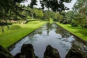 Studley Royal Park features striking 1700s canal landscaping and gardens near Ripon and Aldfield, in North Yorkshire, England, United Kingdom, Europe. Studley Royal Park including the Ruins of Fountains Abbey is honored as a UNESCO World Heritage Site.
