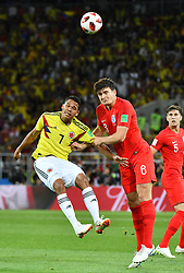 Colombia's Carlos Bacca and England's Harry Maguire during the 1/8 final game between Colombia and England at the 2018 FIFA World Cup in Moscow, Russia on July 3, 2018. Photo by Lionel Hahn/ABACAPRESS.COM