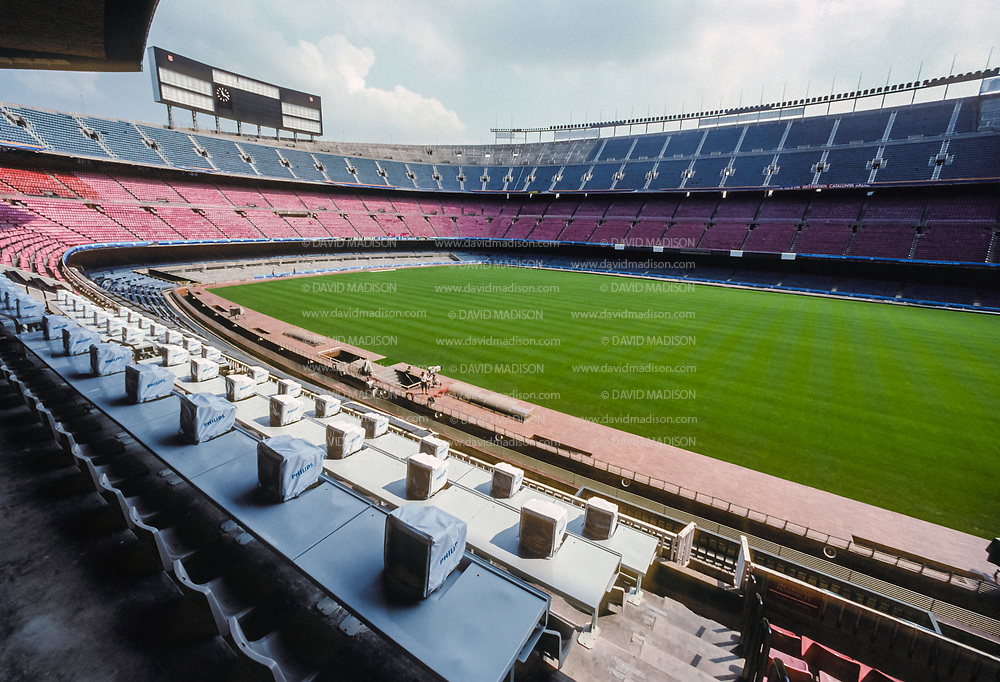 BARCELONA, SPAIN - AUGUST 1992:  A general view of the Camp Nou soccer stadium and press stands in July 1992 before the start of the 1992 Summer Olympics in Barcelona, Spain; Camp Nou was the site of the soccer final of the Olympic Games.  (Photo by David Madison/Getty Images)