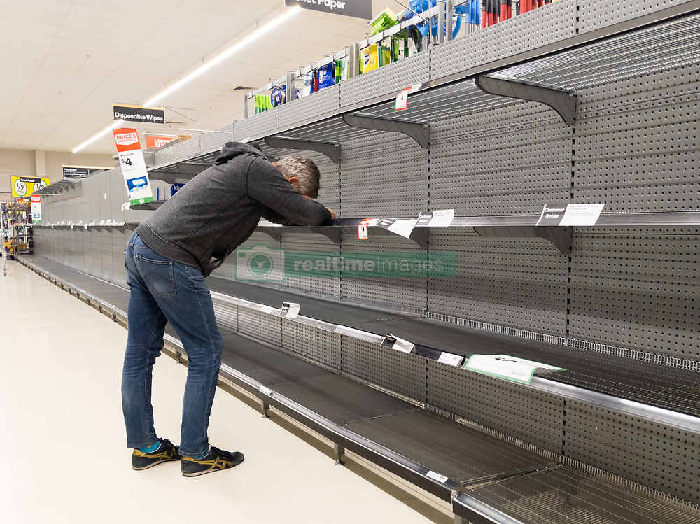 March 17, 2020: Melbourne, Australia: A frustrated man trying to buy toilet paper in an Australian supermarket after panic buying due to the COVID-19 Coronavirus. (Credit Image: © Chris Putnam/ZUMA Wire)