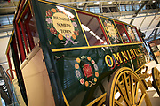 Horse drawn omnibus at London Transport Museum in London, England, United Kingdom. The London Transport Museum, or LT Museum based in Covent Garden, seeks to conserve and explain the transport heritage of Britains capital city. The majority of the museums exhibits originated in the collection of London Transport, but, since the creation of Transport for London, TfL, in 2000, the remit of the museum has expanded to cover all aspects of transportation in the city.