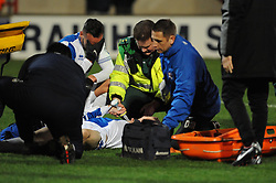 Bristol Rovers' Alan Gow receives medial attention - Photo mandatory by-line: Dougie Allward/JMP - Tel: Mobile: 07966 386802 25/02/2014 - SPORT - FOOTBALL - Scunthorpe - Glanford Park - Scunthorpe United v Bristol Rovers - Sky Bet League Two