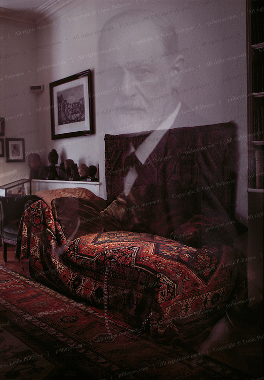 The infamous couch was given to Freud, the founder of Psychoanalysis, by a grateful patient, madame Benvenisti around 1890.  Freud's patients would recline on the couch during psychoanalytic sessions but not quite lie down as the couch is short.  Freud lived at the home, now the Sigmund Freud Museum from 1838-1939 when he died.