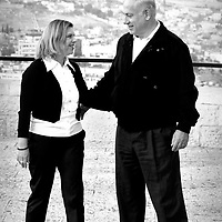 Benjamin and his wife, Sarah Netanyahu take a walk in Jerusalem, overlooking the old city of Jerusalem, a few days before the elections. February 07, 2009.