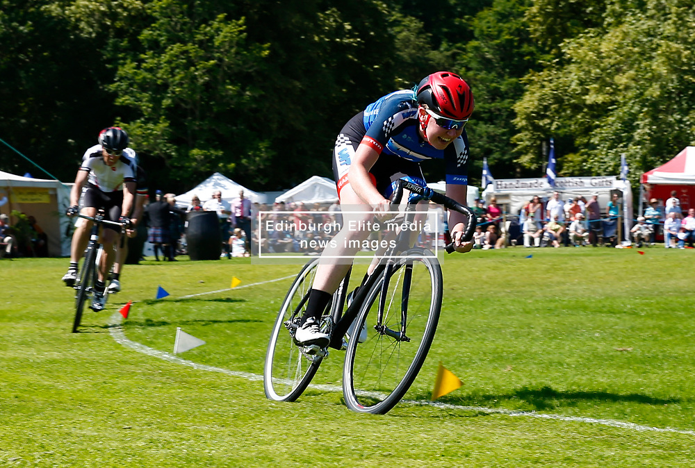 Inveraray Highland Games held in the grounds of Inveraray Castle feature many competitions including piping, highland dancing, field events as well as the usual heavy events.Katie Archiebald MBE and gold medalist competing in the cycling events..... (c) Stephen Lawson   Edinburgh Elite media