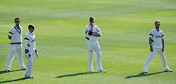 Dejection for Somerset's Jim Allenby, Alex Barrow, Marcus Trescothick and Lewis Gregory. - Photo mandatory by-line: Harry Trump/JMP - Mobile: 07966 386802 - 07/04/15 - SPORT - CRICKET - Pre Season - Somerset v Lancashire - Day 1 - The County Ground, Taunton, England.