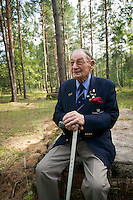 Former British prisoner of war Alfie Fripp, 96, on the site of the German POW camp Stalag Luft 3, the sight of the famous Great Escape.