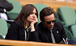 Emily Mortimer and Alessandro Nivola in the royal box of centre court on day one of the Wimbledon Championships at the All England Lawn Tennis and Croquet Club, Wimbledon.