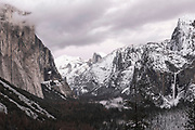 Clearing winter storm over Yosemite Valley, Yosemite National Park, California USA