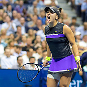 2019 US Open Tennis Tournament- Day Ten.  Bianca Andreescu of Canada reacts to a break in the third set against Elise Mertens of Belgium in the Women's Singles Quarter-Finals match on Arthur Ashe Stadium during the 2019 US Open Tennis Tournament at the USTA Billie Jean King National Tennis Center on September 4th, 2019 in Flushing, Queens, New York City.  (Photo by Tim Clayton/Corbis via Getty Images)