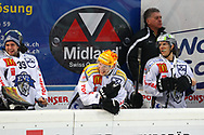 24.Feb.2012; Rapperswil-Jona; Eishockey NLA - Rapperswil-Jona Lakers - EV Zug; Sandro Zurkirchen (L), Damien Brunner (M) und<br />  Fabian Luethi (R, Zug) (Thomas Oswald)