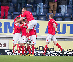 Brechin City's Alan Trouten cele scoring their goal from the penalty spot. <br /> Falkirk 2 v 1 Brechin City, Scottish Cup fifth round game played today at The Falkirk Stadium.